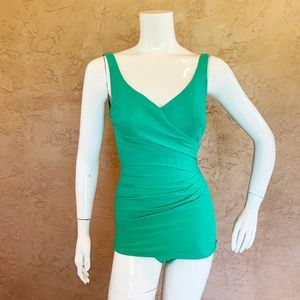 VTG Roxanne Pinup 60s Solid Green Swimsuit 8